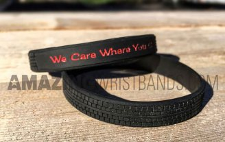 Tyre Shaped Black Custom Molded Wristbands
