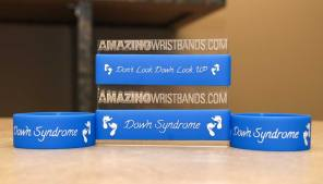 3/4 Inch Wide Blue Down Syndrome Wristbands