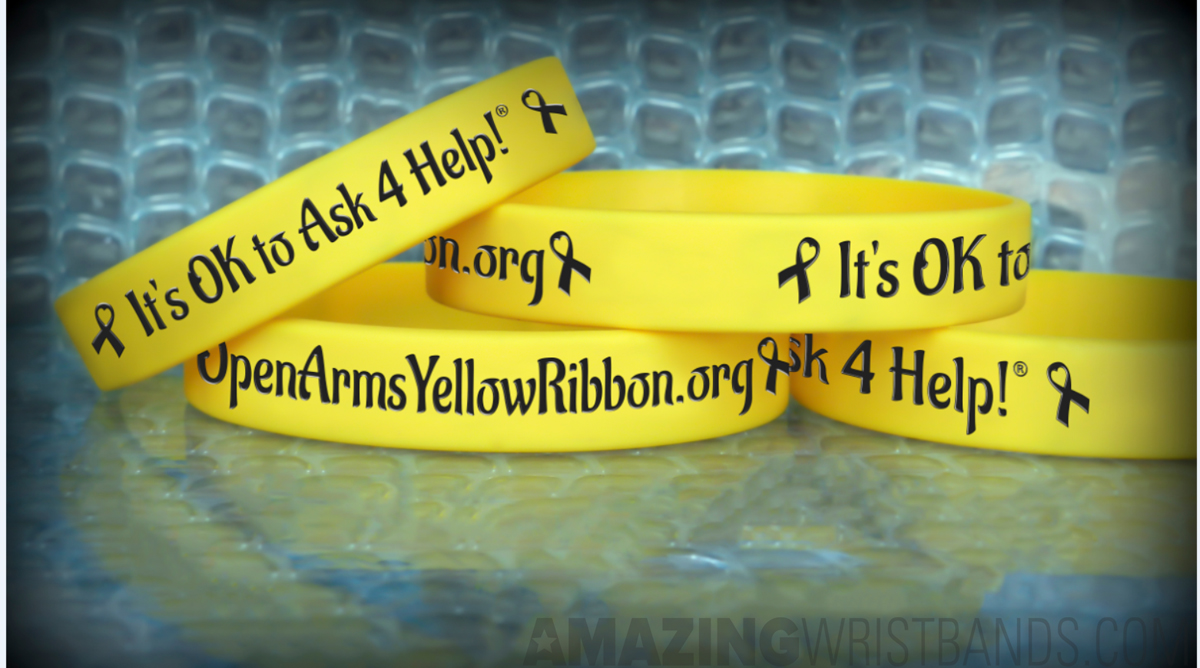 Yellow Wristbands With Suicide Prevention Awareness Message