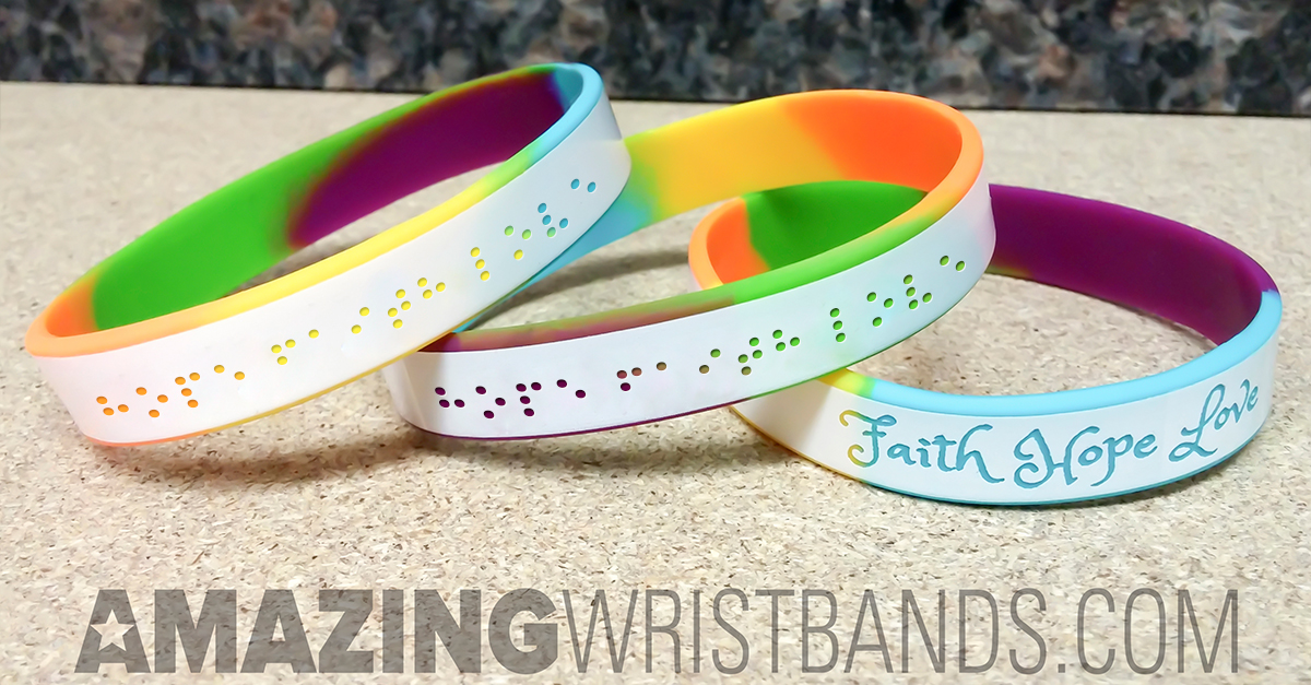 Braille Wristbands Debossed Style