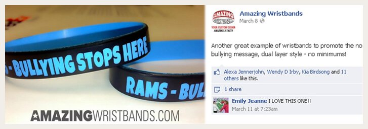 Anti-Bullying Wristbands On Facebook
