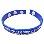 Blue White Colorized Emboss Reunion Wristbands