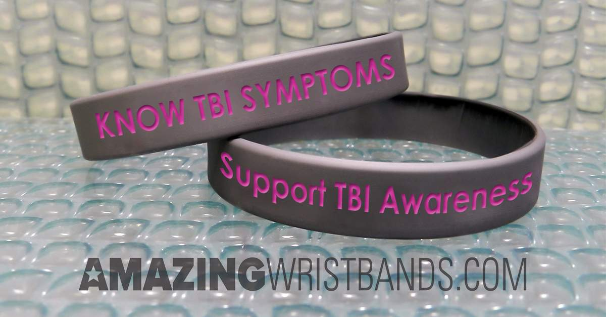 Gray Color TBI Awareness Wristbands